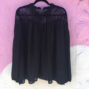 Witchy flowy black lace blouse